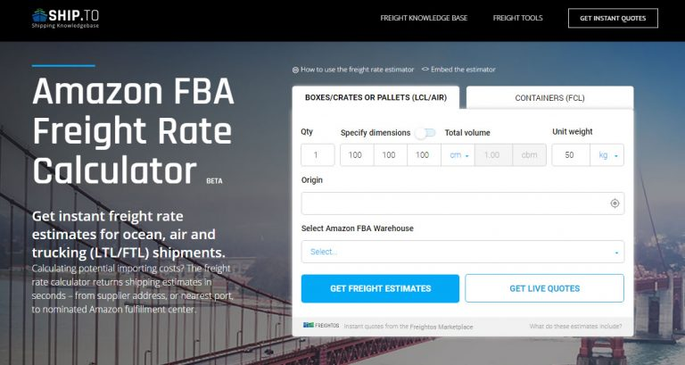 Amazon FBA Freight Rate Calculator