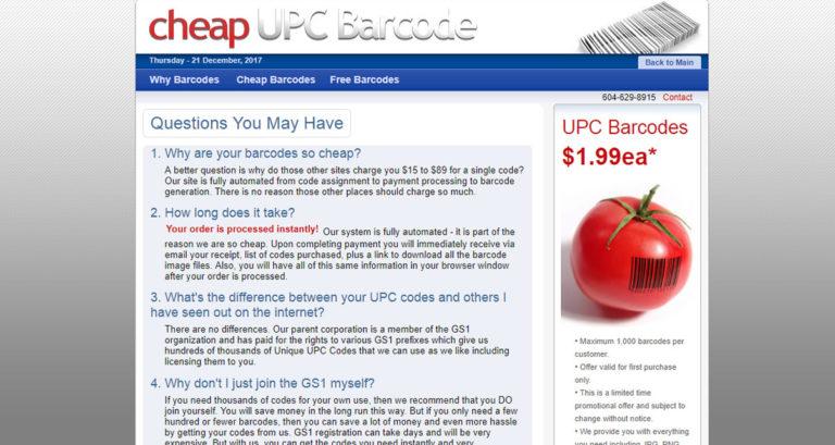 Cheap UPC Barcode