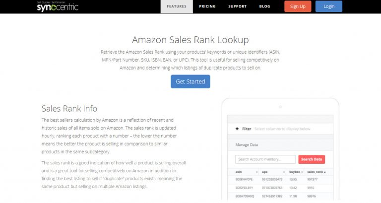 Sales Rank Tool by Synccentric