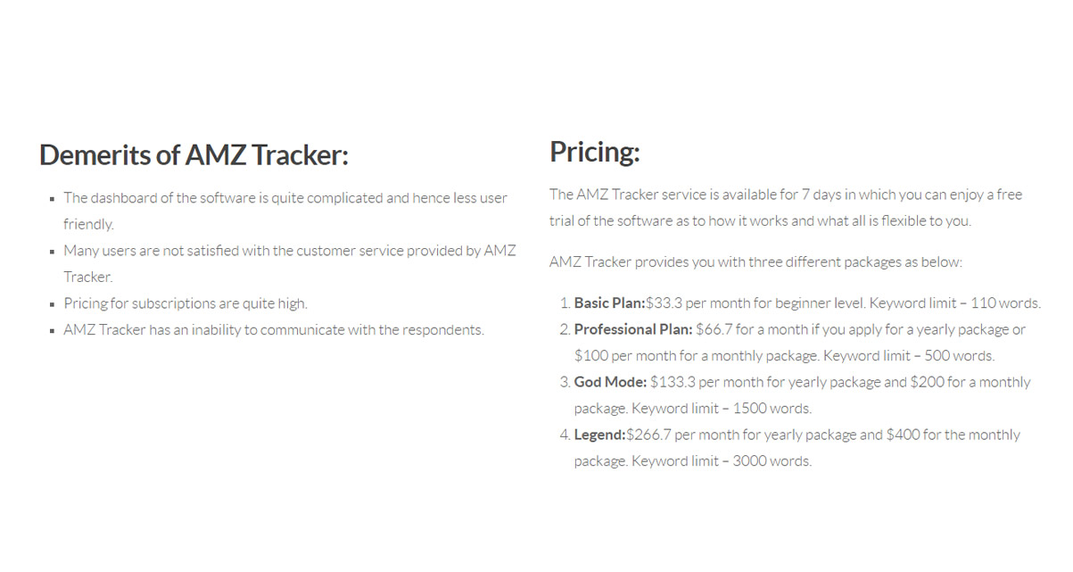 tracker pricing