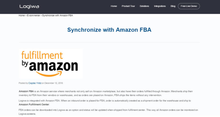 Logiwa Synchronize With Amazon FBA