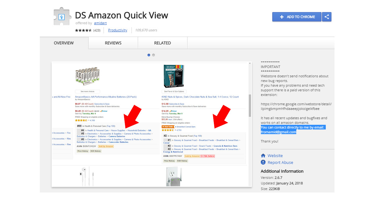 ds amazon quick view chrome extension